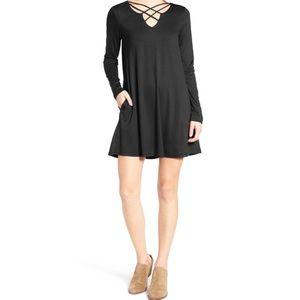 Nordstrom Socialite black criss cross front dress